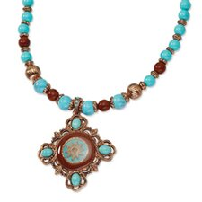 Copper-tone Aqua and Brown Beads Enameled 16inch With Ext Necklace