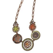 Copper-tone Green Orange and Ivory Enamel 16inch With Ext Necklace