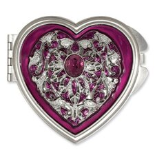 Pewter-tone Steel Enameled Heart Pendant Compact