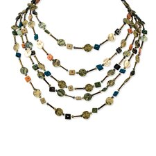 Blue Brown Coco Sequin 16in With Ext Necklace