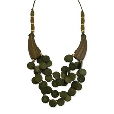 Gold-tone and Green Natural Wood With Coconut Layered Necklace
