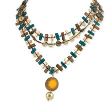 Turquoise Brown Gold Hamba Wood and Sequin 18in With Ext Necklace
