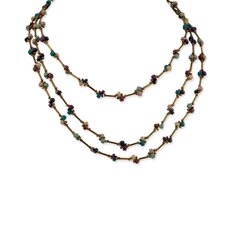Blue Purple Brown Coco Beaded 20inch With Ext Necklace
