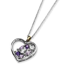 <strong>Jewelryweb</strong> Sterling Silver and 14K Amethyst and Topaz and Diamond Necklace - 17 Inch