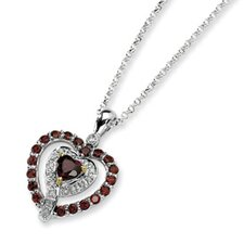Sterling Silver and 14K Garnet and Diamond Necklace - 18 Inch