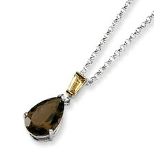 Sterling Silver and 14K Smokey Quartz and Citrine Necklace - 18 Inch