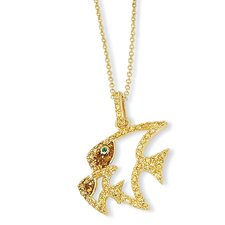 Gold-plated Sterling Silver Enamel CZ and Sim.Emerald Fish Necklace - 18 Inch