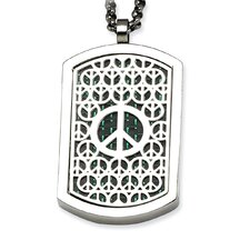 Stainless Steel Peace Symbol and Crosses Reversable Dog Tag Necklace - 22 Inch
