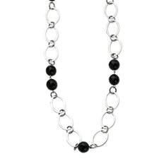 Stainless Steel Ovals and Onyx Gemstones 24 With 2inch ext Necklace - 24 Inch