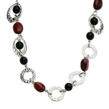 Stainless Steel Textured Ovals Onyx and Ocean Stone Necklace - 21 Inch