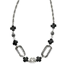 Stainless Steel Black Agate and Maltese 24 With 1inch ext. Necklace - 24 Inch