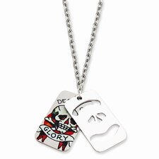 Ed Hardy Death and Glory 2-piece Dog Tag Painted 24inch Necklace