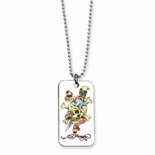 Ed Hardy Skull Dagger Painted Dog Tag 24inch Necklace