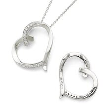 <strong>Jewelryweb</strong> Sterling Silver Antiqued CZ Love You Mom 18inch Necklace