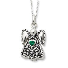 Sterling Silver Antiqued May CZ Birthstone Angel Ash Holder 18inch Necklace