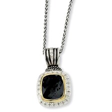 Sterling Silver With 14k 9.50Black Onyx and 1/5ct. Diamond 18inch Necklace