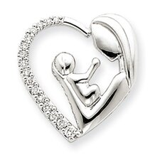 <strong>Jewelryweb</strong> 14k White Gold Mother and Baby Diamond Heart Slide