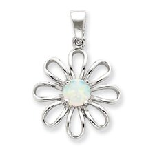 Sterling Silver Created Opal and CZ Daisy Slide