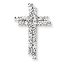 <strong>Jewelryweb</strong> Sterling Silver CZ Latin Cross Slide