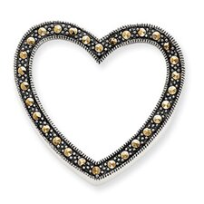 Sterling Silver Marcasite Heart Slide