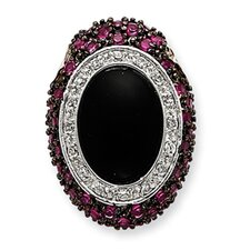 Sterling Silver Onyx and Pink CZ Slide
