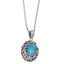 Sterling Silver Rhodium Plated 18 InchTurquoise PendantWith Chain