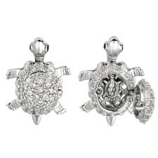 <strong>Jewelryweb</strong> Sterling Silver Rhodium Plated CZ Turtle PendantLock