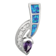Sterling Silver Rhodium Plated Opal Pendant