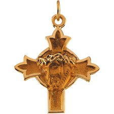 <strong>Jewelryweb</strong> 14k Gold Head Of Jesus Crown Cross Pendant22.5x21.5mm