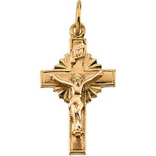 <strong>Jewelryweb</strong> 14k Two-Tone Crucifix Pendant19x13mm