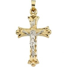 <strong>Jewelryweb</strong> 14k Two-Tone Crucifix Pendant25x18mm