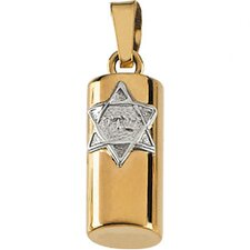14k Two-Tone Mezuzah Pendant15x6mm