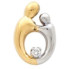 <strong>Jewelryweb</strong> 14k Two-Tone Sm Mother And Child Diamond Pendant. 14.75x1mm