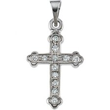 <strong>Jewelryweb</strong> 14k White Gold Cross PendantWith Diamond 16x11.5mm