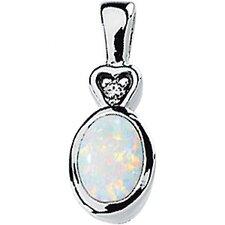 14k White Gold Genuine Opal And Diamond Pendant7x5mm.02ct