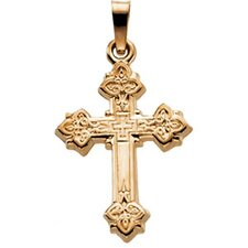 14k Yellow Gold Cross Pendant With Design