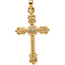 14k Yellow Gold Cross PendantWith Diamond 29x20mm