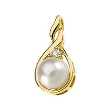 14k Yellow Gold Cultured Pearl And Diamond Pendant7mm