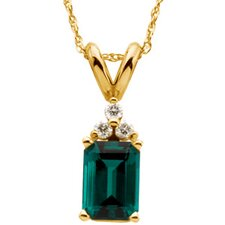 14k Yellow Gold Chatham Created Emerald and Diamond Pendant.06ct 7x5mm