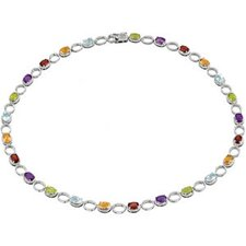 Sterling Silver Amethyst Citrine Mozambique Garnet Peridot and Sky Blue Topaz Necklace 18 Inch
