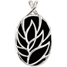 Sterling Silver Genuine Onyx Pendant20x14mm