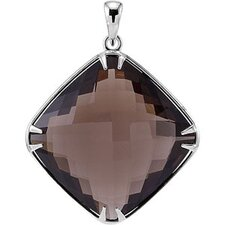 Sterling Silver Genuine Smoky Quartz Pendant20x20mm