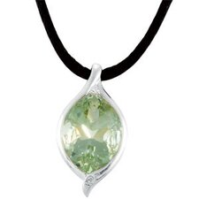 Sterling Silver Genuine Green Quartz and White Topaz Pendant20x15mm