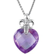 <strong>Jewelryweb</strong> Sterling Silver Genuine Checkerboard Amethyst Pendant13x13mm