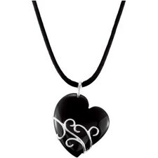 Sterling Silver Genuine Onyx Heart Pendant37x31.5mm