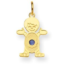 14K Boy 2.5mmSynthetic Birthstone Pendant