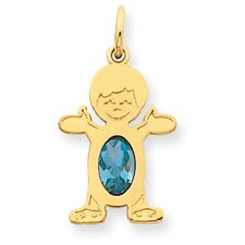 14K Boy Oval Genuine Blue Topaz December Pendant