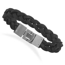 Braided Black Leather Bracelet With Stainless Steel Closure