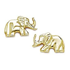 14k Yellow Gold Elephant Stamping Earrings