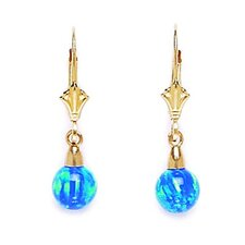 14k Yellow Gold Blue 6x6mm Opal Ball Drop Leverback Earrings